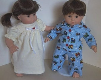 "American Girl 15 ""Bitty Twins Doll Clothing - ""Choo Choo's and Stripes""  Flannel Pajamas PJ's Boy and Girl"