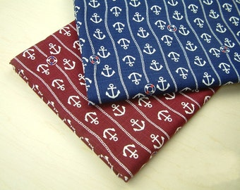 Half Meter Cotton Fabric,Craft,2 Colors For Choice,Sea Anchor Pattern,Stripes,Navy,diy,Sewing (QT68)