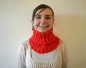 Bright red cowl scarf, ribbed crochet infinity scarf