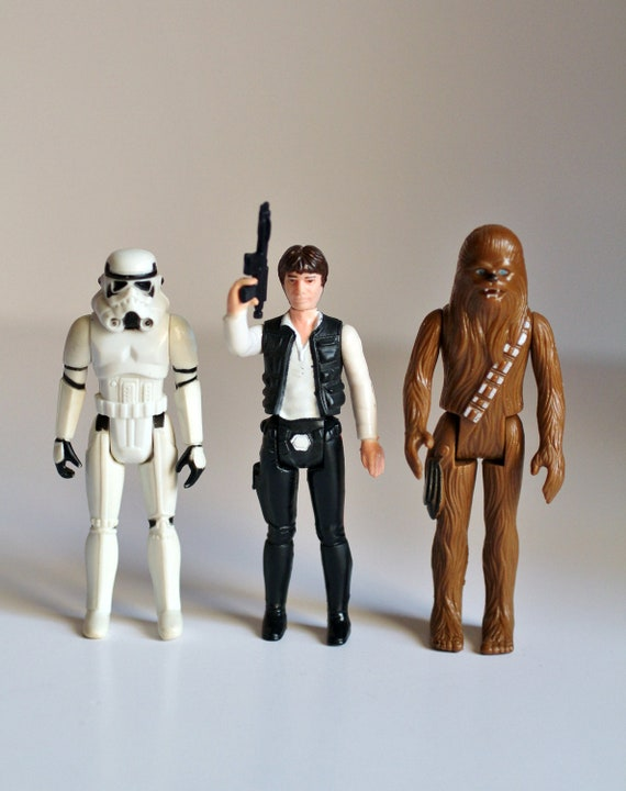 Vintage 1977 star wars set han solo chewbacca and storm for Home decor kenner