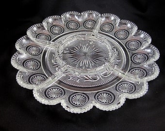 Pressed Glass Platter with Compartments, Sunburst. Vintage.