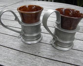 Vintage Plough Tarvern Coffee Mugs Hall Pottery, Armetale Pewter Holder, Rare Retro Resturant Diner