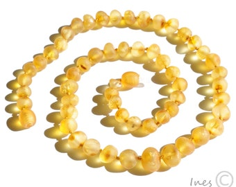 Raw Unpolished Baltic Amber Necklace Rounded Honey Beads. For Adults