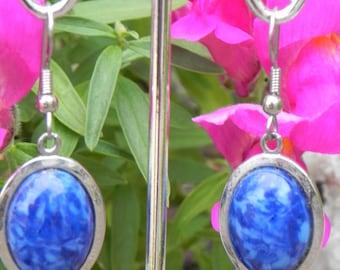 Blue Lapis Costume Earrings