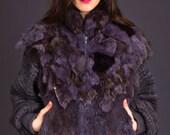 SALE 50% OFF 80s Vintage Raw Edge Rabbit Fur Jacket in Grey