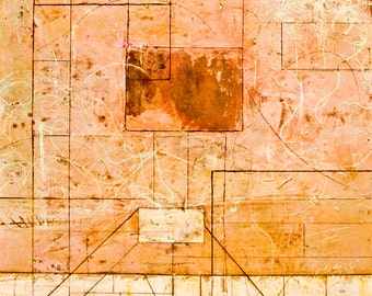 LARGE ABSTRACT PAINTING original, pink brown Modern Conceptual RGCIV12.2011No.20EOC3 Distilled Reality/Free Shipping
