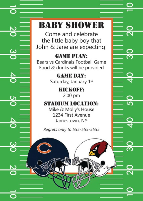 couples football themed baby or bridal shower invitation
