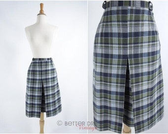 60s Cotton Skirt in Navy and Green Plaid - xs, sm