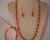 Carnelian and Gold Necklace, Bracelet and Earrings Set