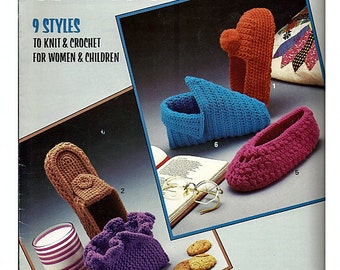 Slippers 9 styles for Women & Children to knit and Crochet Pattern Book   Leisure Arts 356