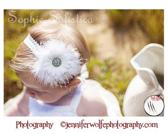 White Lace Headband -White Flower - Diamond Rhinestone, White Marabou Feathers & French Netting - Wedding, Baptism and Christening Gift