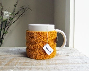 Knit Coffee Cozy, Coffee Sleeve, Cup Cozy, Coffee Mug Sleeve, Gift Under 15, Gift for Him, Wool Cozy, Gold, Yellow, Hand Knit, Gift for Mom