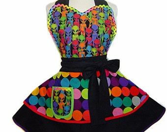 Made To Order Alien Apron Retro Multi-Color Dots Diner Pinup Style (With More Aliens Than Roswell)