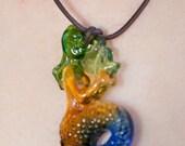 Rainbow Glass Mermaid Necklace