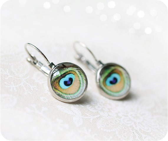 Dangle peacock earrings - Peacock feather - Mint earrings - Shabby chic jewelry - Gift for girlfriend - Free shipping / E07
