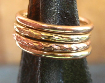 CLEARANCE SALE Four  14k stacking rings -14k rose gold ring - 14k yellow gold ring - 14k stacking ring set - size 7 - European size O