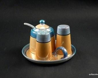 Tashiro Shoten Art Deco Era Lusterware Salt and Pepper Shakers with Mustard Jar Set - Vintage 1930s Lusterware