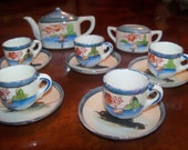 Children's Tea Set Luster Ware Blue Doll TeaSet  Lustre Ware ca 1950s