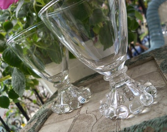 Set of EIGHT Boopie Anchor Hocking Berwick Bubble Boopie Juice Glass Footed Stemmed Mini Glasses Candlewick Style