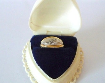 14k Wedding Band Ring in White & Yellow Gold 3 Diamonds Size 6 Includes Vintage Heart Ring Box from TreasuresOfGrace