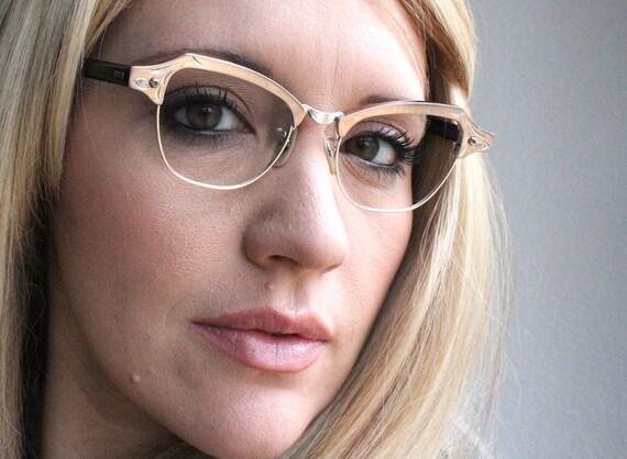 Vintage 50's 12K Gold Filled Aluminum Etched Silver Cat Eye Eyeglasses