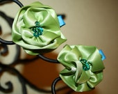 Matching Lime and Turquoise Hand Beaded and Sewn Hair Clips