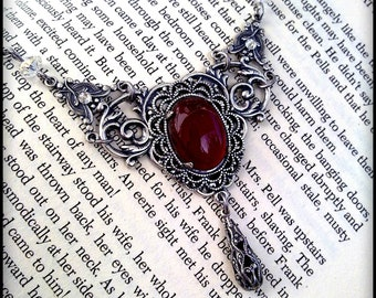 Victorian Gothic Necklace Carnelian Agate Necklace Silver Filigree Necklace Victorian Gothic Jewelry