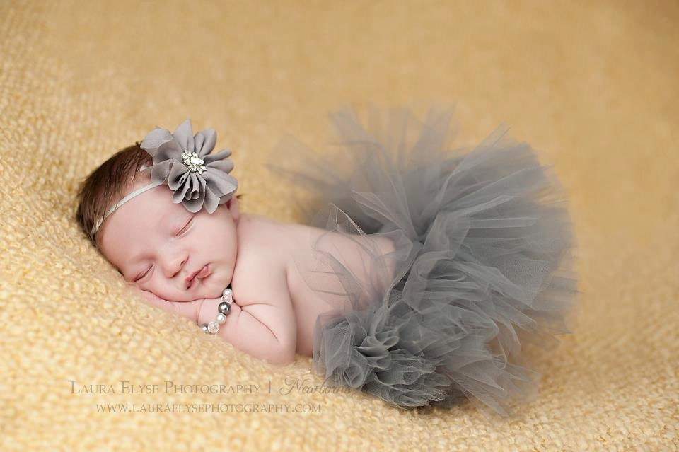 Tutu and Headband Set Silver Gray Newborn Tutu Girls