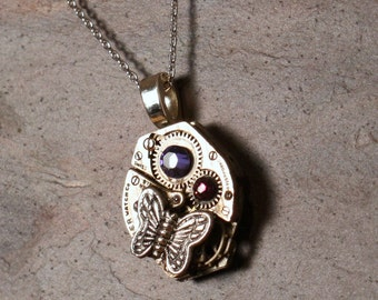Steampunk Watch Pendant, Recycled Watch Movement Silver Butterfly & Purple Swarovski Crystal, 18 inch Sterling Silver Chain