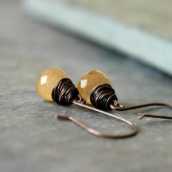 "Copper rutilated quartz onion briolette wire wrapped  earrings gemstone warm tones coppery gold rustic--""Venus capillus"""