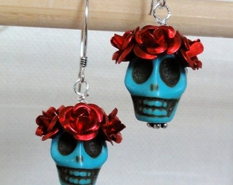 Dia de los Muertos Earrings - Turquoise Skull w/ Red Flowers