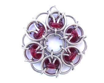 Glass Pendant, Red Pendant, Chain Maille Pendant, Ruby Red Glass Jewelry