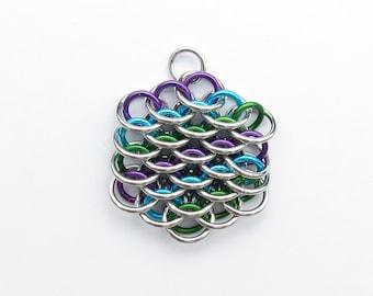 Multicolor Pendant, Chain Mail Pendant, Purple Turquoise Green, Mini Dragonscale Pendant, Jump Ring Pendant