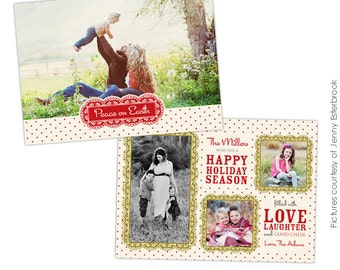 PSD Christmas Card Photoshop template - Love together - E627