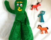Vintage Toys Lot Gumby & Pokey. Stuffed Plush, 2 Figures, and a Keychain. Great Condition. 1980 80's collectible pvc plastic toys
