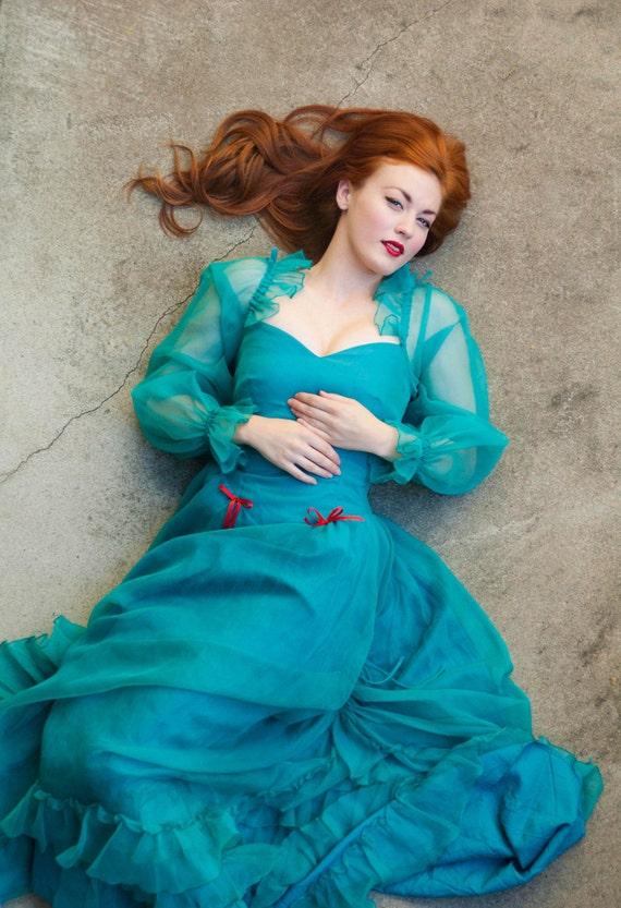 Vintage Dress Teal Green Turquoise Long Sheer Princess