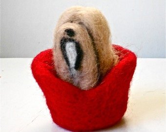 Lhasa Apso Needle-Felted 'Tashi' Dog Figure with Red Bed