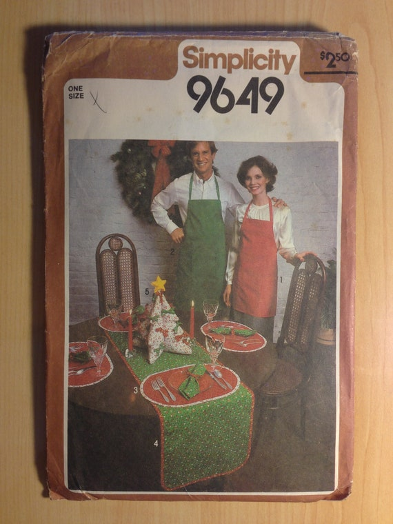 Simplicity 80s Sewing Pattern 9649 Christmas Accessories Table Runner, Place Mats and More Sale