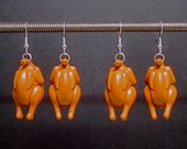Thanksgiving turkey earrings with removable drumsticks and silver plated ear wires