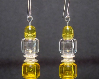 Yellow & clear earrings with silver plated ear wires