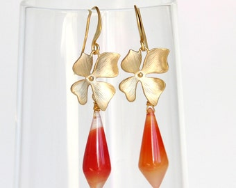 Orange Chalcedony Earrings - Flower, Tangerine Gemstone, Melon, Gold, Statement Earrings