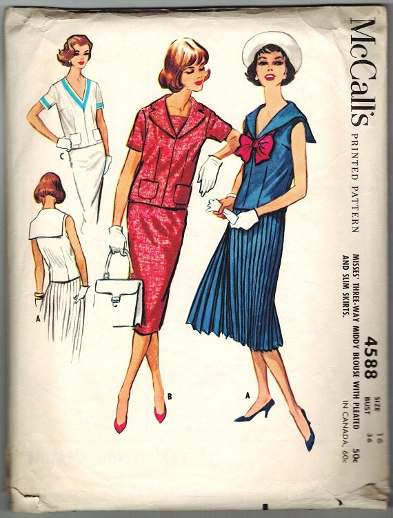 McCall's 4588 Vintage 50s  Mad Men V Neck Middy Sailor Collar Blouse, Top, Sheath or Knife Pleated Skirt 2 piece Dress Sewing Pattern B 36