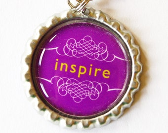 Inspire Zipper Pull, Zipper Pull, Purse Charm, Inspire, Charm, Purple, Inspiration (1335)