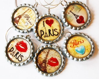 Paris wine charms, Wine Glass Charms, Wine Charms, Wine, Paris, I Love Paris, Paris charm, eiffel tower (1355)