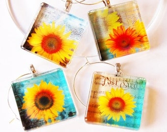 Sunflowers, Wine Charms, sunflower wine charm, Wine Glass Charms, Flower wine charms, Table setting, entertaining