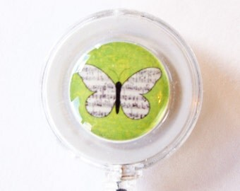 ID Badge Holder, Retractable id, Badge clip, Name Tag, Butterfly, Green, for the office (1642)