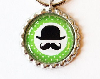 Moustache key ring, key ring, key chain, bottle cap, Moustache, bowler, mustache, stocking stuffer, green (1880)