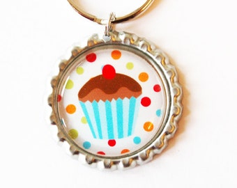Cupcake keychain, keychain, key ring, cute key chain, cupcake key ring, stocking stuffer, accessories (1954)