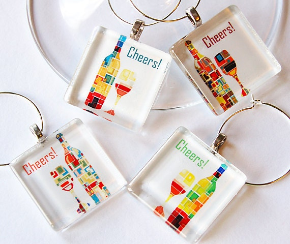 Drink charms, Cheers, Wine Glass Charms, Wine Charms, wine tasting party, Glass Wine Charms, barware, table setting, entertaining