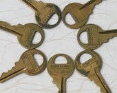 "Vintage Master Lock Keys - Seven 1 3/4"" brass keys, patina, collect or use as part of a art and crafts project, different blank numbers"